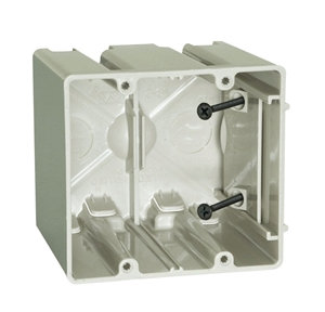 Picture of Allied Moulded  3-3/4 In. Square  Plastic  2 Gang Outlet Box  Beige/Tan