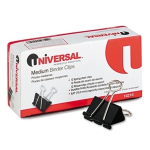"Picture of Universal Office Products, Medium Binder Clips, Steel Wire, 5/8"" Cap., 1-1/4"" Wide, Black/Silver, Dozen"