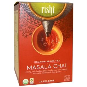Picture of Rishi Masala Chai Tea, Organic Black Tea Blend Sachet Bags, 15 Count